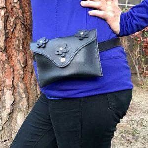 Handbags - Black flower vegan Belt Fanny Pack Bag